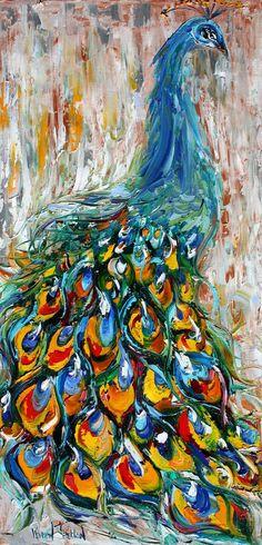 "Karen's Fine Art – Gallery Represented Modern Impressionism in oils    Title: Luminous Peacock  Original oil painting by Karen Tarlton  Size: 12""x 24"""