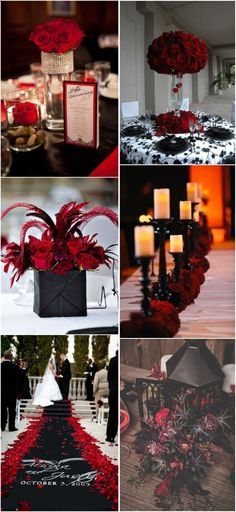 18 Black and Red Wedding Color Ideas! 18 Black and Red Wedding Color Ideas! Black Red Wedding, Burgundy Wedding, Red Black Weddings, Rustic Red Wedding, Trendy Wedding, Elegant Wedding, Red Wedding Decorations, Wedding Themes, Red Centerpiece Wedding