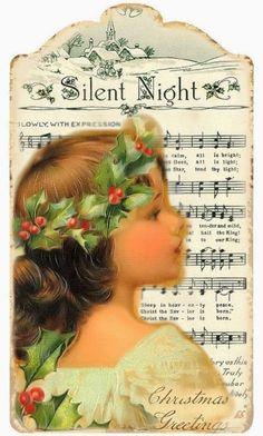 CHRISTMAS SILENT NIGHT MUSICAL PRINTABLE TAG