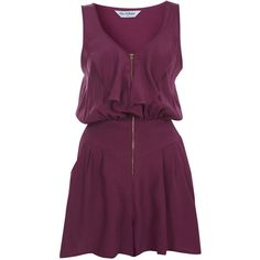 Miss Selfridge Raspberry Zip Front Romper ($26) ❤ liked on Polyvore featuring jumpsuits, rompers, dresses, vestidos, playsuits, burgundy, zip front romper, miss selfridge, playsuit jumpsuit and jump suit