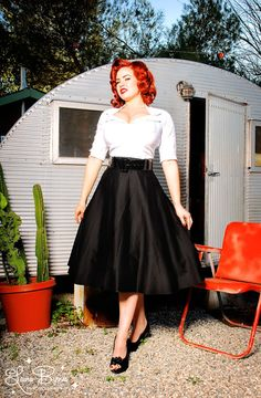 Doris Skirt in Black Sateen  - Our love affair with the Doris skirt continues!  This gorgeous full skirt is pure vintage style in a luxe cotton sateen, with a wide vinyl belt to define your waist and a flattering full swing cut.