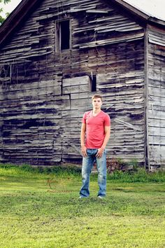 Country Senior Portrait Ideas Cartersville GA | senior boy by a old barn for his senior photos