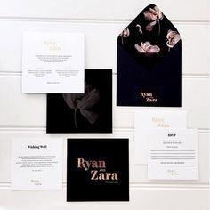dark floral modern stationery and wedding invitations