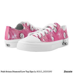 Pink Ariana Diamond Low Top Zipz Printed Shoes
