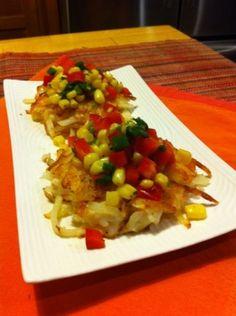 Lemony Shrimp and Potato Cakes With Tricolor Salsa