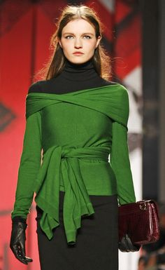 This green wrap top wuold look perfect without something underneath. Team with a elegant pencil skirt and large hat for that wow factor!