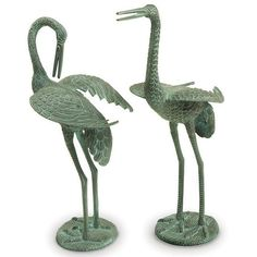 Check Out The ACHLA Designs Waders Preening Crane Pair Outdoor Statue In  Antique Verdi