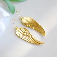Angel wing earrings. $24.00, via Etsy.