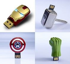 The Avengers USB Flash Drives - featuring the icons of your favorite heroes. our favorite got to be hulk's fist.
