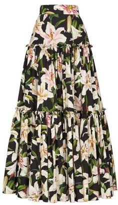 Dolce & Gabbana Lilium Print Tiered Poplin Maxi Skirt Womens Black Print - Maxi Skirts - Ideas of Maxi Skirts Dolce & Gabbana, Modest Fashion, Fashion Outfits, Apostolic Fashion, Modest Clothing, Maxi Skirt Black, A Skirt, Printed Maxi Skirts, Midi Skirts