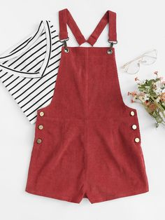 Shop Lobster Claw Hook Strap O-Ring Back Cord Overalls online. SheIn offers Lobster Claw Hook Strap O-Ring Back Cord Overalls & more to fit your fashionable needs. Cute Teen Outfits, Outfits For Teens, Trendy Outfits, Summer Outfits, Girl Outfits, Look Fashion, Teen Fashion, Fashion Clothes, Fashion Outfits