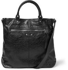 Balenciaga Creased-Leather Tote Bag      | MR PORTER