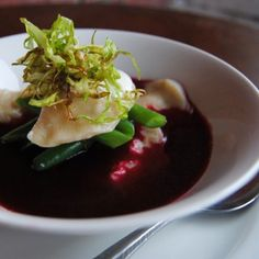 contestant Lara Johnson creates a dish of Pilchard pierogi, borscht and crispy cabbage in this week's challenge Borscht, Fabulous Foods, Simple Pleasures, Ravioli, Cabbage, Pudding, Yummy Food, Dishes, Cooking