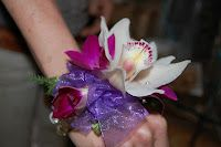 Corsage with cymbidium and dendrobian orchids