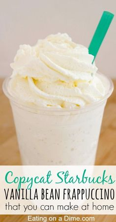 1 cup Ice 1 1/2 cup Milk 3 scoop Vanilla Bean Ice Cream 1 tsp Sugar 1/8 tsp Vanilla Extract Whipped Cream (optional) Starbucks Vanilla Bean Frappuccino Recipe  Blend all ingredients except whipped cream until blended. Transfer to serving glass and top with whipped cream. Serve immediately.