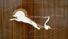 Art deco inlay on cabinet by Jacques Emil Ruhlmann