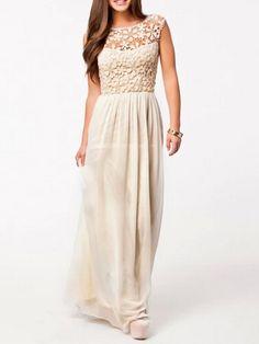 Beige Lace Panel Chiffon Maxi Dress | Choies
