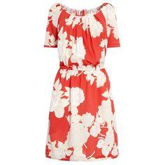 Sommerkleider mit Ärmeln: Orangefarbenes Sommerkleid mit weißem Blumenprint und Tunnelzug von Next