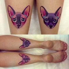 cat flower portrait thigh tattoo - Google Search