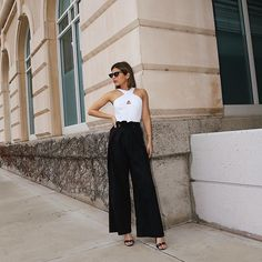 White cross over top and black jumpsuit with black sandals via Black Tie Wedding Guest Dress, Beach Wedding Guest Attire, Black Tie Wedding Guests, Wedding Guest Looks, Beach Dresses, Girls Dresses, Engagement Party Dresses, What To Wear To A Wedding, White Crosses