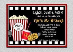 Movie Birthday Invitations Movie Night Birthday Party Invitation Printable. $15.00, via Etsy.