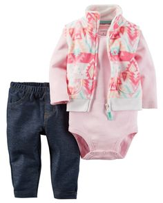 Carter's Baby Girls Vest Sets, Pink, 18 Months Zip front vest and bodysuit with nickel free snaps and expandable shoulder No pinch elastic waistbad pants Baby Girl Vest, Carters Baby Girl, My Baby Girl, Baby Girls, Toddler Outfits, Kids Outfits, Baby Boy Haircuts, Vest Outfits, Baby Kids Clothes