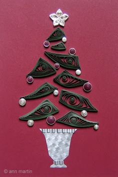 All Things Paper: a quilled tree design with woven paper base
