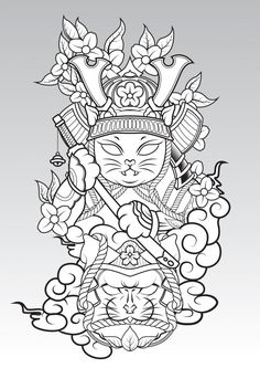 Cat Samurai on colud and Sakura blossom. Japan Tattoo Design, Sketch Tattoo Design, Sketch Design, Tattoo Sketches, Tattoo Drawings, Body Art Tattoos, Sleeve Tattoos, Japanese Tattoo Art, Japanese Tattoo Designs