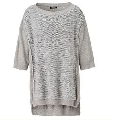 Oversized geschnittener Strickpullover in Melange-Optik. #Strick #Pullover #grey #Impressionenversand