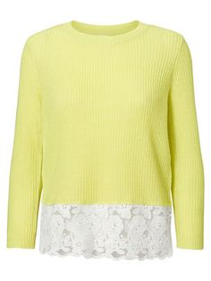 LACED HEMLINE 3/4 SLEEVED BLOUSE, Sunny Lime