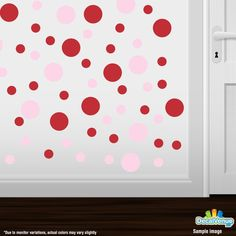 Baby Pink / Red Polka Dot Circles Wall Decals #decalvenue #stickers #decals