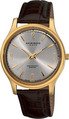 Akribos XXIV Men's AK539YG Swiss Quartz Leather Strap Watch Akribos XXIV. $79.00. Precise swiss quartz movement. Water-resistant to 30 M (99 feet). Gold-tone stainless steel case. Genuine leather brown strap. Silver-tone sunray dial. Save 80%!