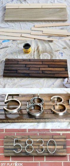 This DIY Modern Address plate will instantly upgrade your curb appeal. This uniq… This DIY Modern Address plate will instantly upgrade your curb appeal. This unique address plate will instantly add modern style to the front of your house. Easy Home Decor, Handmade Home Decor, Cheap Home Decor, Diy Home Projects Easy, Diy Home Decor On A Budget Easy, Small Living Room Ideas On A Budget, Dog Home Decor, Metal Projects, Diy Home Decor Projects