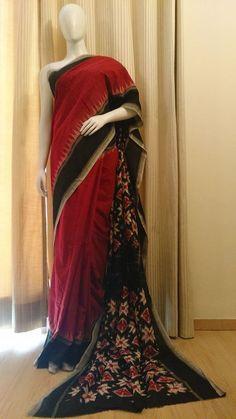 Telia Design on pallu and Blouse, this Ikkat Cotton is gorgeous