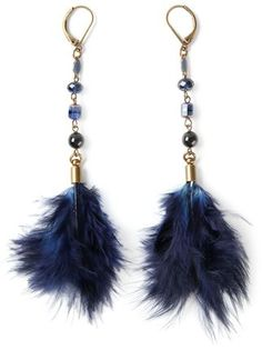 Isabel Marant Navy Feather Earrings. V