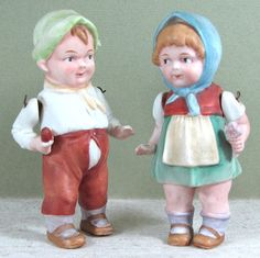 """4 1/2"""" All Bisque Pair Boy & Girl ~ Limbach  marked 'P 10'"""