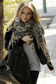 Tolani Wool Cape Scarf With Suede Fringe ~ ♥ Her Whole Look!