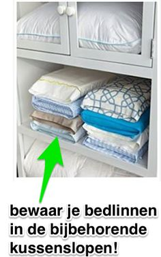 Pillow Case Storage Tuck your matching sheet sets inside one of it's own pillow cases to keep your linen closet organized! - 50 Genius Storage Ideas ~ Tuck your matching sheet sets inside one of it's own pillow cases! Organisation Hacks, Closet Organization, Organizing Ideas, Organising, Clothing Organization, Kitchen Organization, Organization Websites, Organizing Solutions, Medicine Organization
