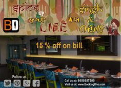 Hey! Looking for PUNJABI TADKA along with CHINESE MANIA Then why to go anywhere?? Get 15% off on total food bill at HOUSE OF SINGH & CHING  Contact us at : 9555557585 www.bookingdiva.com #BookingDiva