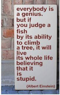 Everybody is a genius. But if you judge a fish by its ability to climb a tree, it will live its whole life thinking it's stupid -- Albert Einstein.