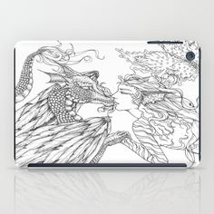 Forbidden Love Between the Ocean and Sky- Black & White Illustration iPad Case