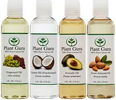 Pure Carrier Oil PACK- 4 Ounce Bottles--Fractionated Coconut Oil, Grapeseed Oil, Avocado Oil and Sweet Almond Oil Essential Oils For Pain, Essential Oil Uses, Doterra Essential Oils, Pure Essential, Homemade Beard Oil, How To Make Oil, Vitis Vinifera, Coconut Oil For Skin, Fractionated Coconut Oil