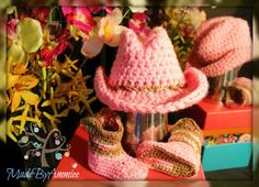 Pink Crochet Cowgirl Set  Camo Cowgirl Hat and by MadeByAmmiee