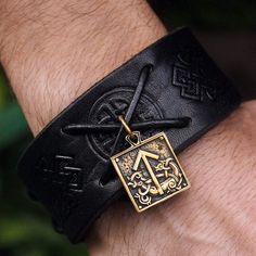 Bronze Tiwaz Tyr Tiw Rune Amulet Leather Bracelet by MAGICrebEL, $36.99