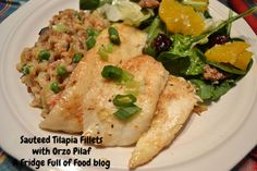 Sauteed White Fish Filets with Orzo Pilaf. A Fridge Full of Food blog.