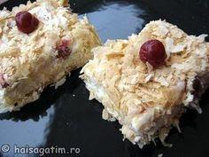 Cremsnit cu visine (cremsnit0) imagine reteta Sweet Cakes, Oatmeal, Dairy, Cheese, Breakfast, Desserts, Food, Sweets, The Oatmeal