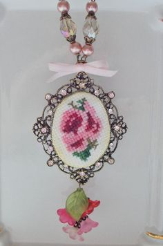 cross stitching necklace