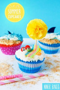 {Summertime, Vacation time} Beach, Ocean & Shark Cupcakes | niner bakes