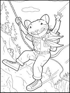 Stuart Little Hanging On Rope Coloring Picture For Kids