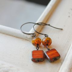 Orange and Yellow Earrings Copper and Brass by nancywallisdesigns, $21.00